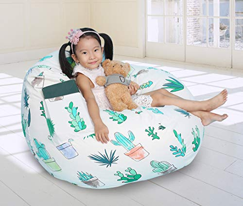 Great Eagle 52x48 in (Flat Size) Extra Large 100% Cotton Canvas Kids Stuffed Animals Storage Bean Bag Chair Cover Only for Toddlers,Kids,Teens and Adults(Grey/Sea Bears)