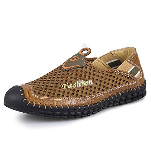 SHENTIANWEI Sommer atmungsaktives Mesh-Sneakers for Männer Leichte Outdoor-Sportschuhe Gefüttert Anti-Rutsch-Flat Kollisionsvermeidung Round Close Toe Slip-on (Color : Braun, Größe : 40 EU)