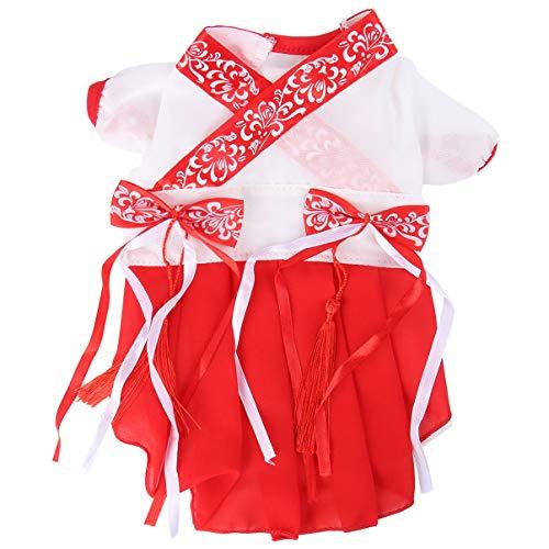 Balacoo Hund Chinesisches Kleid Bestickt Hanfu Kleid für Kleine Extra Kleine Hund Teddy Chihuahua Shih Tzu (M Geeignet für Gewicht 2. 5-3. 5Kg Rot)