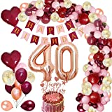 MMTX 40 Globos Cumpleaños Decoraciones de Borgoña con Globos de Aluminio Globos de Confeti de Oro Rosa Rojo Vino Torta de Banner para Niña Mujer Cumpleaños Aniversario Recuerdos de Fiesta