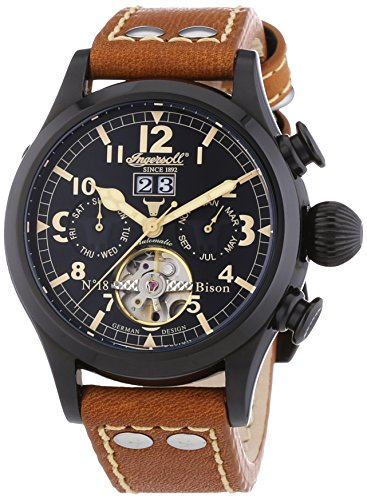 Ingersoll Herren-Armbanduhr XL Bison N0.18 Chronograph Automatik Leder IN4506BBK