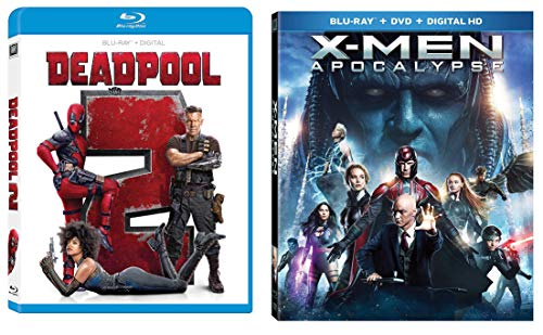Double Down Dead X pool Marvel Super Hero Movies Deadpool with Gag Reel (Blu Ray) Part 2 + X-Men Apocalypse Movie 2 Pack
