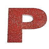 Letra del Alfabeto y Numeros en poliestireno de 20 centimetros de Altura para Decoracion con Purpurina roja para Eventos, Bodas y Fiestas (P)