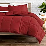 Bare Home Comforter Set - Queen Size - Goose Down Alternative - Ultra-Soft - Premium 1800 Series - Hypoallergenic - All Season Breathable Warmth (Queen, Red)