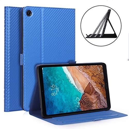 WY-1595A - Funda protectora para tablet Xiaomi Mi Pad 4 Plus/10.1' 2018 (fibra de carbono, ultrafina, piel sintética, función de soporte multiposición), color azul