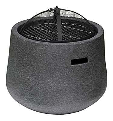 Rammento Outdoor Fire Pit Bowl & BBQ Grill Round Shaped Patio Fire LARGE Outdoor Fire Pit 53.5cm Granite Texture Dark Grey by Rammento