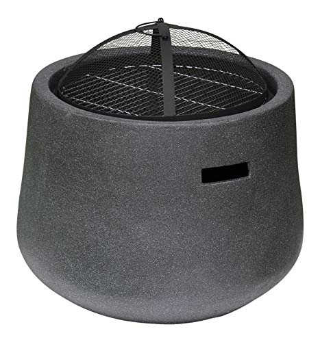 Rammento Outdoor Fire Pit Bowl & BBQ Grill Round Shaped Patio Fire LARGE Outdoor Fire Pit 53.5cm Granite Texture Dark Grey