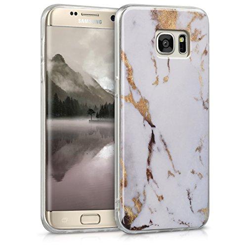 kwmobile Hülle kompatibel mit Samsung Galaxy S7 Edge - Handyhülle - Handy Case Marmor Weiß Gold