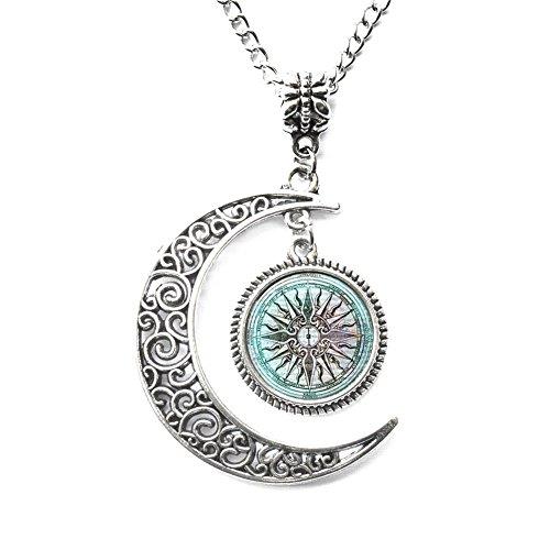 Collar griego con colgante de luna creciente en Grecia antigua joyería de mitología griega collar de la ciudad perdida de la Atlántida, collar de cristal de la mitología griega