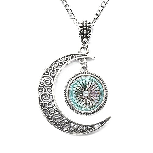 Charm Crescent Moon Greek Necklace Ancient Greece Jewelry Greek Mythology Necklace Lost City of Atlantis Necklace Greek Mythology Jewelry Glass Necklace Gift