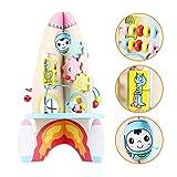 Rocket cubo de madera de juguete de regalo Actividad Actividad de madera del juguete del cubo 8-en-1 de Multifuction de bolas laberinto Centro Educativo for bebés y niños pequeños niño y niña zcaqtajr
