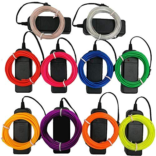 TGHCP-10Pack 9FT Neon Glowing EL Wire with Battery Pack(Aqua,White,Blue,Green,Orange,Pink,Red,Lime,Yellow,Purple)