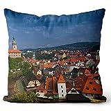 Throw Pillow Cover Prague Accent Fundas de Almohada para Oficina, Hotel, Asiento de Ventana o decoración de Coche.Los 40x40cm