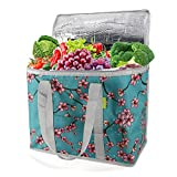 Cooler Bag Insulated Reusable Grocery Shopping Bag to Keep Foods Hot or Cold XLarge Frozen Food Delivery Bag with Zipper Top Heavy Duty Durable Stands Upright