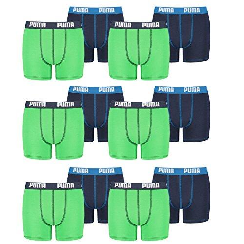 PUMA 12 er Pack Boxer Boxershorts Jungen Kinder Unterhose Unterwäsche, Farbe:686 - Green/Blue, Bekleidung:164