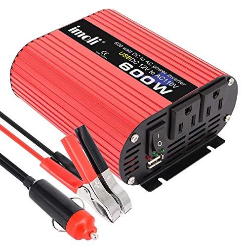UWSXWechselrichter, imoli 1200W / 2400W (Peak) DC 12V zu AC 110V Konverter Modifizierter Sinus 3.1A USB für den Automobilbereich600WUWSX