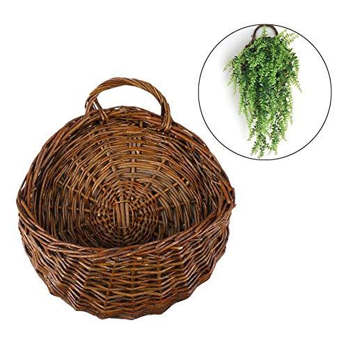N/H Handmade Woven Hanging Basket,Weide Korb Flower Pot Rustic Rattan Korb, zum Aufhängen und für die Tropfen Vase Behälter für Zuhause, Garten-, Wand Dekoration