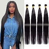 Maxine Brazilian Long Silky Straight Virgin Human Hair 4 Bundles 40 Inch 100% Unprocessed Hair Weave Bundles Extensions Deals 10a Natural Color