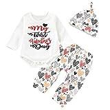 Baby Boys Girls Toddler Letter Print Romper + Heart Pants + Hat Newborn Outfit Suit para el Día de San Valentín Informal (Size : 100)