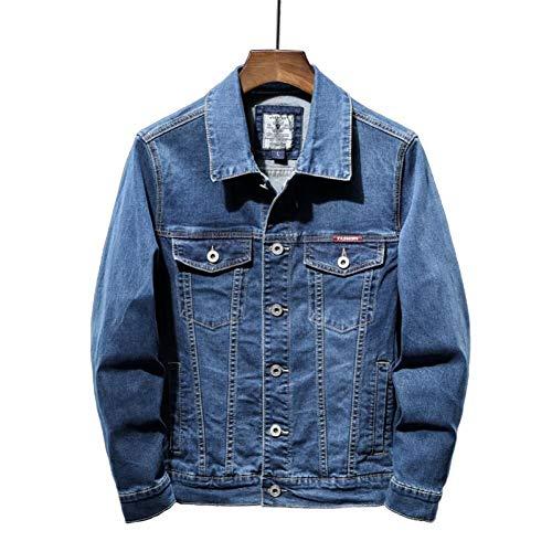 LJLLINGB 2020 Nueva Chaqueta Vaquera Azul de otoño para Hombre, Chaqueta Vaquera elástica de algodón Informal a la Moda, Abrigo para Hombre