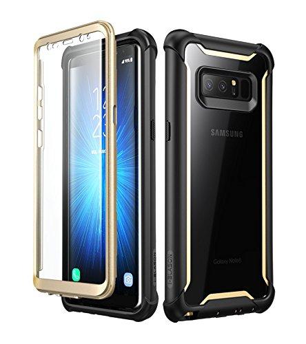 i-Blason Hülle für Samsung Galaxy Note 8 Hülle 360 Grad Handyhülle Bumper Hülle Transparent Schutzhülle Clear Cover [Ares] mit integriertem Bildschirmschutz, Gold