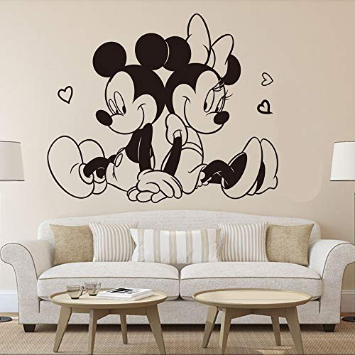 Wikaus Mickey Minnie Mouse Wall Art Decal Sticker Sitting Mickey Minnie Mouse Wall Sticker Kids Room Home Decoration Lovely Mickey Mural Minnie