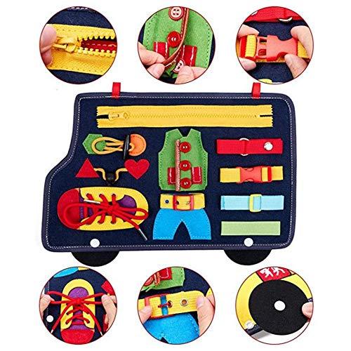 Tacey Kleinkind Beschäftigt Board, Auto Form Filzspielzeug Spielbretter, Montessori Spielzeug Für Die Entwicklung Grundlegender Fähigkeiten, Lernen, Zu Schnappen, Reißverschluss, Schnürsenkel Binden