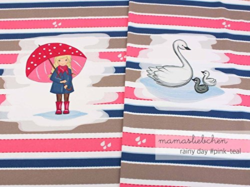 Mamasliebchen Jersey-Stoff Meterware Rainy Day #pink Teal (ca. 0,55m - 1 Panel)