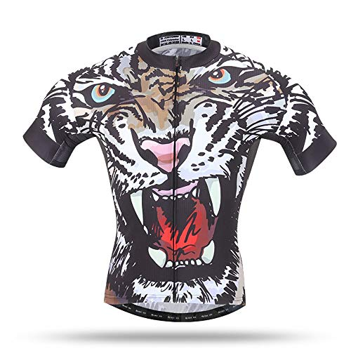 Unkoo 3D Tiger Printing Men's Full Zipper Breathable Short Sleeves Top Best Cycling Jersey Shorts Biking Wear Suit Mountain Bike Jerseys Sleeve Maillot Ciclismo UV Protection Equipment