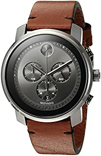 Movado Men's Swiss Quartz Stainless Steel and Brown Leather Casual Watch (Model: 3600367)