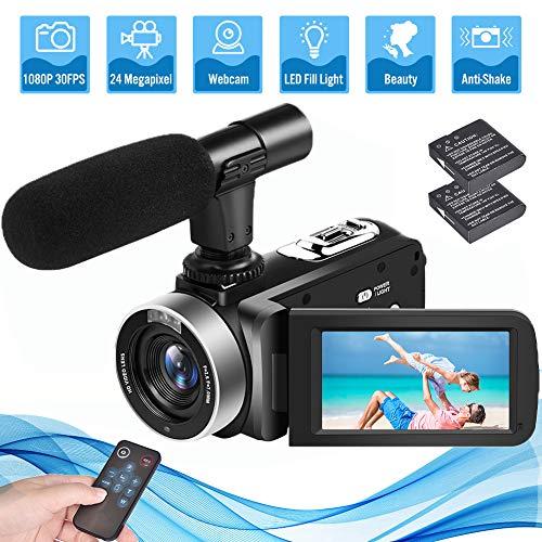 Camcorder Videokamera Full HD 1080P 24.0MP Camcorder Kamera mit Mikrofon Vlogging Kamera mit 18X Digitalzoom Videokamera