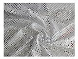 Fabrics-City SILBER/WEIß EXKLUSIVE KLEINE PAILLETTEN STOFF