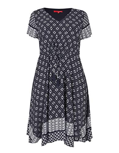 THEA by Adler Mode Damen Kleid mit schwingendem Saum Marine/weiß 58