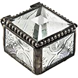 Ring Box Stained Glass Jewelry Box Decorative Keepsake Wedding Engagement Gift Clear Vintage J Devlin Box 522