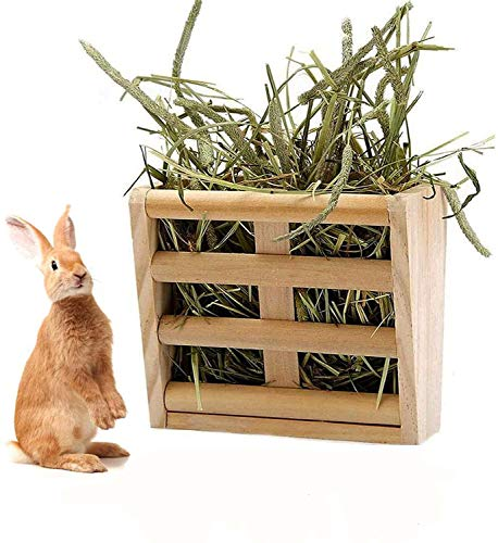 Rabbits Hay Feeder Rack,Wooden Wall-mountable Hay Manger for Small Pets Bunny,Guinea Pigs Hamster and Guinea Pigs Cage Accessories
