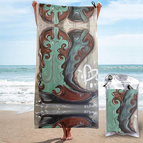 POSONINGS Oil Paint Cowboy Boots Quick Dry Beach Towels Portable Bath Towel Travel Beach Towel,Outdoor Swimming Sports Quick Dry Towel,Women Men Kids