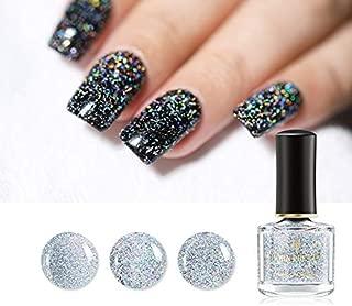 Born Pretty Holographic Sequins Nail Polish Galaxy Glitter Top Coat Holo Shining Lacquer Black Datura Series Nail Varnish