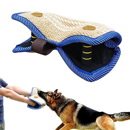 "PET ARTIST Jute/Linen Bite Wedge Bite Pillow 2 Handle with 1 Loop Tug Toy 14""(36cm) 8""(20cm)"