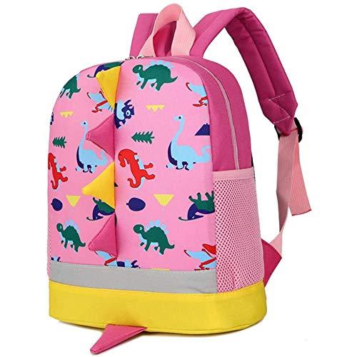Kinderrucksack Dinosaurier Kinder Rucksack Kleinkind Kindergarten Schultaschen für 2-5 Jungen Mädchen Pink rose 28x24x10