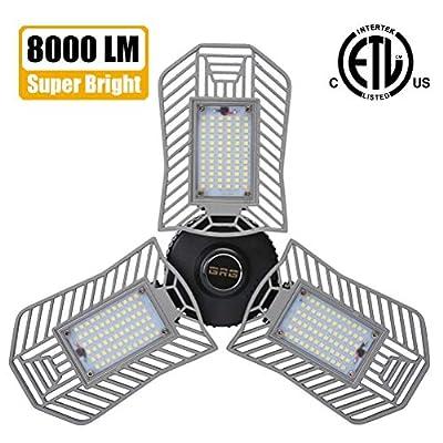 Garage Light, 80W 8000 Lumens LED Garage Lights, Deformable Garage Ceiling Lighting, Beyond Bright Shop Light for Garage, Basement, Workshop, LED High Bay Light Bulb.