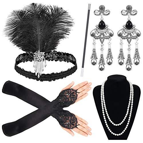 Sinoeem 1920s Kostüm Damen Flapper Accessoires Set 20er Jahre Halloween Kostümzubehör Inklusive Stirnband Halskette Handschuhe Ohrringe Zigarettenhalter Set (Set-5)
