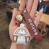Ornaments Gifts Rubber Women Lovers Charm Men Molang Rabbit Keychains Cartoon Pendant PVC Key Ring Bag(Coffee)