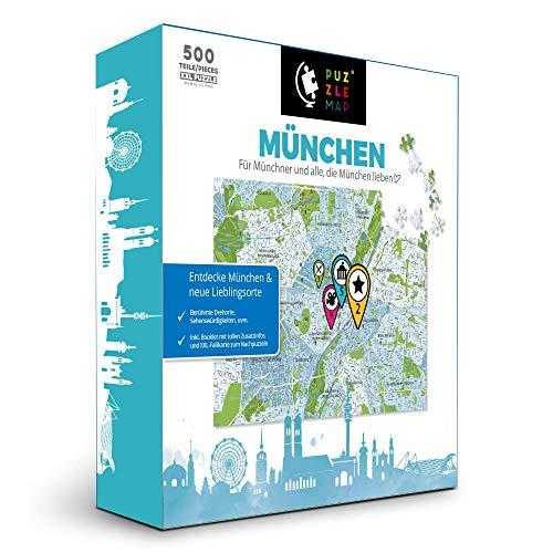 PuzzleMap München Puzzle Stadtplan | XXL 500 Teile | Mit Booklet & Faltkarte | 68x46cm Motivgröße | Reiseführer Geschenk Souvenir