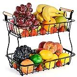 Canasta de frutas de encimera de 2 niveles para cocina vegetales frutas canasta tazón soporte metal rectángulo canasta de alambre almacenamiento para frutas bocadillos pan organizador de cocina
