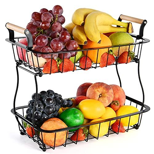 Cestino di frutta da appoggio a 2 livelli per cucina Cesto di frutta e verdura Cesto portaoggetti Rettangolo in metallo Cesto di filo metallico per frutta Spuntini Organizzatore da cucina per il pane