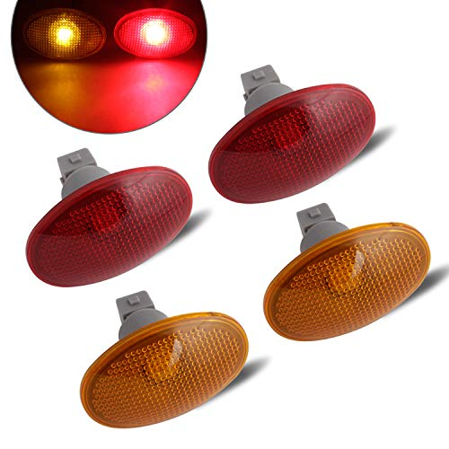 RUXIFEY LED Dually Bed Fender Side Marker Lights Amber Red Sidemarker Lamps Replacement Compatible with 1999 to 2010 Ford F350 F450 F550 Dually - Pack of 4