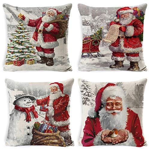 Yuson Girl Set of 4 Christmas Pillow Cushion Cover Sofa...