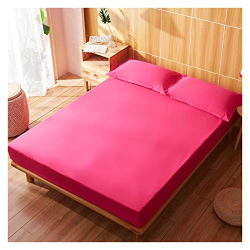 LJP Cotton Fitted Bed Cover Anti Bacterial Adjustable Mattress Protector Extra Deep Breathable Waterproof Sweat Absorption (Color : Rose red, Size : 200x220cm)