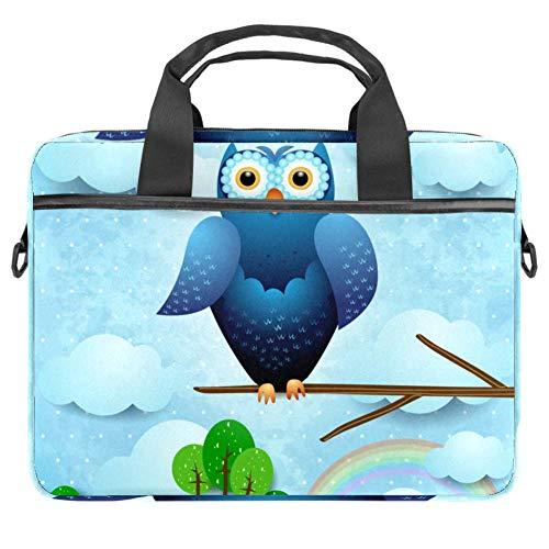 Laptop Computer Bag Messenger Bag Multi-Compartment Briefcase Satchel Shoulder Bag Blue Owl On The Branch Pattern