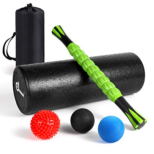 Odoland Foam Roller Set, Large 18 Muscle Foam Roller, Muscle Roller Stick and Massage Balls for High Density Physical Therapy Exercise, Deep Tissue Trigger, Pain & Myofascial Relief Home Gym Set
